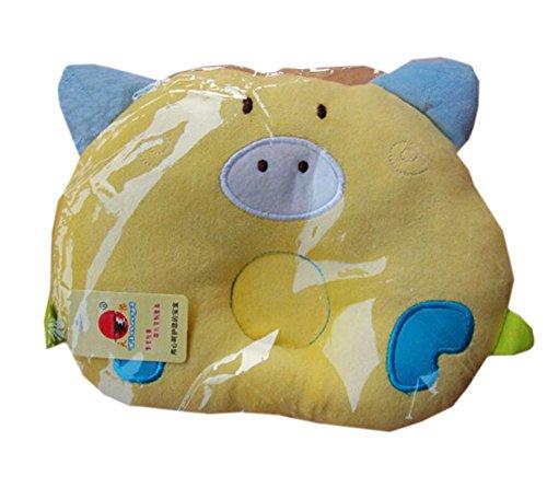 Cochon Comfy Cute Baby Oreillers Prévenir tête plate, Jaune