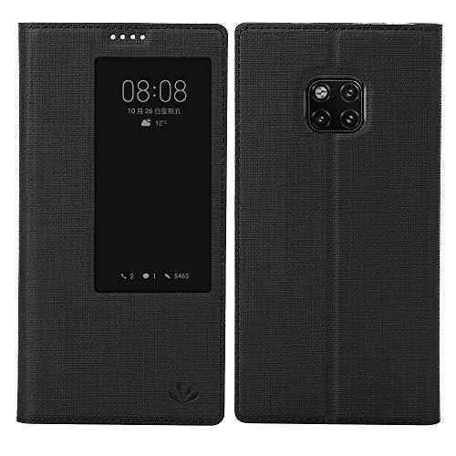 Feitenn Mate 20 Pro Hülle, Premium Leder Tasche Flip klappbares Handyhülle Case intelligente Ansicht Fenster Schlaf aufwachen Brieftasche für Huawei Mate 20 Pro (Mate 20 Pro, Schwarz)