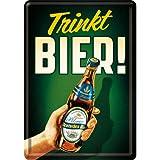 Nostalgic-Art 10274 Open Bar - Trinkt Bier!, Blechpostkarte 10x14 cm