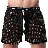 iEFiEL Herren Hose Bermuda Shorts Sporthose Netz Hose Badeshorts Kurze Hose Aushöhlung (L, Schwarz)