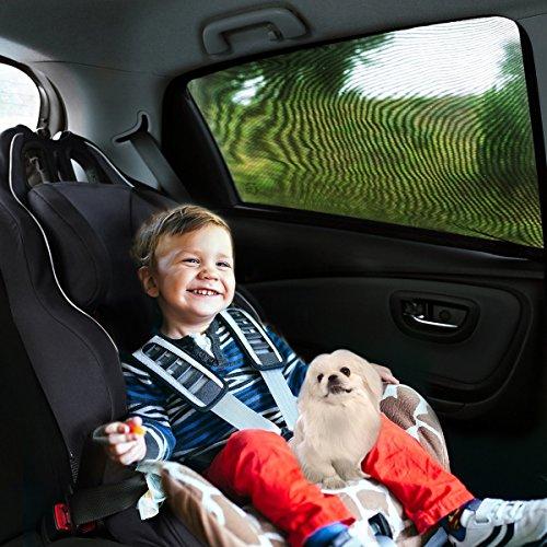 Preisvergleich Produktbild Aodoor (2er-Pack) Sonnenschutz Auto für Kinder, Hunde und Babys , Sonnenblende Autos blockt mehr als 97% der schädlichen UV-Strahlung, Seitenscheibe Autosonnenschutz passt universell