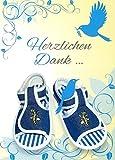 Danksagungskarten Taufe Junge mit Innentext Motiv blaue Schuhe 10 Klappkarten DIN A6 im Hochformat mit weißen Umschlägen im Set Taufekarten Dankeskarten Dankeschön Karten Kuvert Danke sagen K92