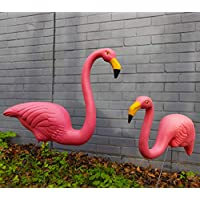 Woodside 2 x Plastic Garden Lawn Figurine Flamingo Ornaments Pink Outdoor Decor