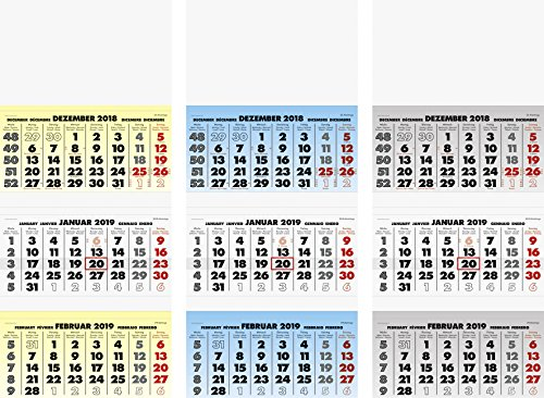 Fontana 107021395Calendario da parete/Tre del mese di calendario modello 70213, 1Foglia = 3mesi, 340X 790mm, kalendarium 2018