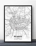Bilder Auf Leinwand,Schwarze Linie Frankreich Rennes Karte,