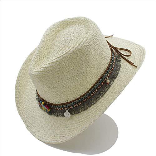 Redyiger Warme Mützen für Frauen, Hollow Western Cowboy-Hut der Handarbeit-Sommerfrauen-Männer für Gentleman-Westernwort-Cowgirl-Jazzkappe-Sommer-Stroh-Strand-Sonnenhut