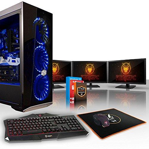 Fierce Python High-End Gaming PC Bundeln: 4.5GHz 6-Core Intel Core i5 8600K, 2TB SSHD, 16GB, NVIDIA GeForce RTX 2080 8GB, Win 10, Tastatur (QWERTY), Maus, 3X 21.5-Zoll-Monitore 885174