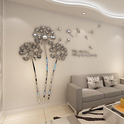 autocollants-muraux-en-acrylique-stereo-3d-en-miroir-en-pissenlit-silver-large