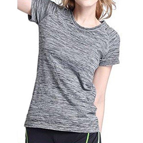 hibote femmes sportives séchage rapide T-shirt teint satin Slim Mode col rond cyclisme vêtements Gris
