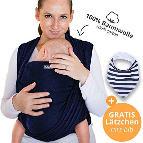 Portabebés hecho de algodón 100% - gris oscuro - portabebés de alta calidad para recién nacidos y bebés hasta 15 kg - incluye bolsa para guardar y babero GRATIS - precioso diseño de Makimaja®