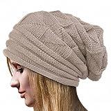 Rcool Crochet las mujeres del invierno gorro de lana Tejer Beanie casquillos calientes 6 colores (Talla única, Beige)