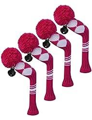 Scott Edward Housses de tête de club de golf hybride/utilitaires, 4 pièces Emballé, Blanc Argyle, fil Acrylique Double-layers en tricot, avec rotatif Nombre balises, rose
