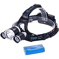 Binwo Premium fari a LED per il campeggio, corsa, escursionismo, pesca, lettura, luminosa eccellente e facile da usare, a mani libere luce del lavoro del casco, faro resistente all