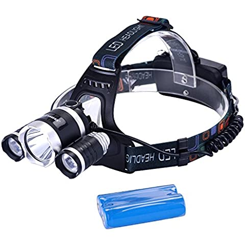 binwo Premium linterna LED linterna para Camping, Correr, senderismo, pesca, lectura, Super Brillante Luz y fácil de usar, manos libres impermeable Casco Luz de trabajo, Faro con pilas recargables
