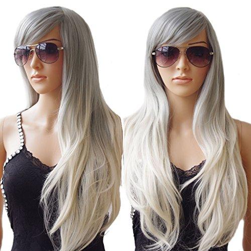 e Perücke für Damen, hitzeresistentes, synthetisches, natürliches, gewelltes Haar, Ombre Dip Dye, Perücke für jeden Tag, Partykostüm (Blonde Perücke Mit Pony Halloween)