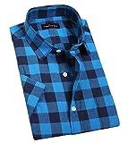 JEETOO Classics Herren Slim Kariert Kurzarm Hemd Freizeit Hemd Baumwolle Button-down Modern Hemd, (XXX-Large, Blau und Navy)