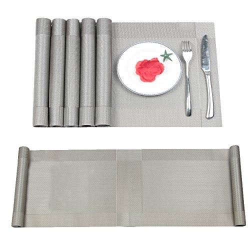 Famibay Tischläufer mit 4waschbar Vinyl Platzsets mit mit Tischläufer für Küchentisch, rutschfest, 01gray, Set of 6+Table runner 180cm