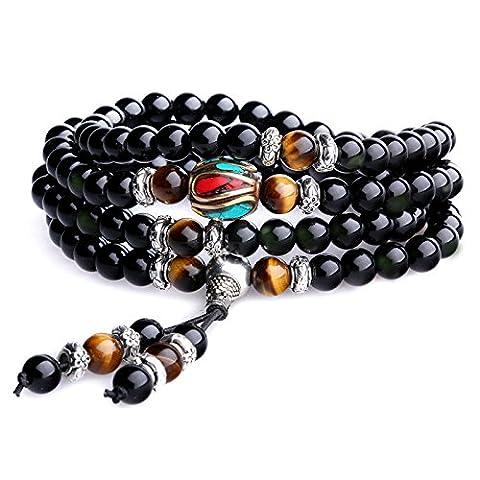 108 Perles Bracelet Mala Pierres Naturelles Obsidienne Œil de tigre