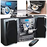 NEOSTAR Compact Music Centre System Turntable CD Twin Cassette Tape Deck Radio USB Port SD Card Slot Hifi System Remote Control