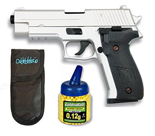 Pack Pistola airsoft Cyma metálica. Calibre 6mm. + 1000 Bolas + Funda...