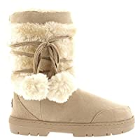 Holly Womens Pom Pom Waterproof Winter Snow Boots