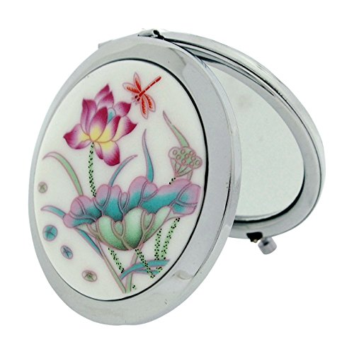 compact-mirror-7cm-white-flower-design-ceramic-silvertone-travel-pocket-mirror-sc1320