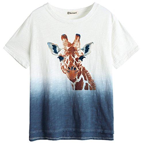 So'each Women's Giraffe Art Painting Dip Dye Tee T-Shirt Ladies Casual Top -