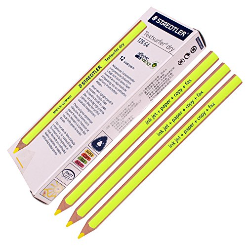 Staedtler Textsurfer Dry Highlighter Pencil 12864Drawing for writing Sketching inkjet, paper, Copy, fax (confezione da 12giallo)