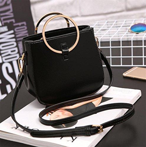 YANX signora Fashion PU borsa delle signore Borsa a tracolla Tote (17 * 16 * 9,5 centimetri) , rose red Black