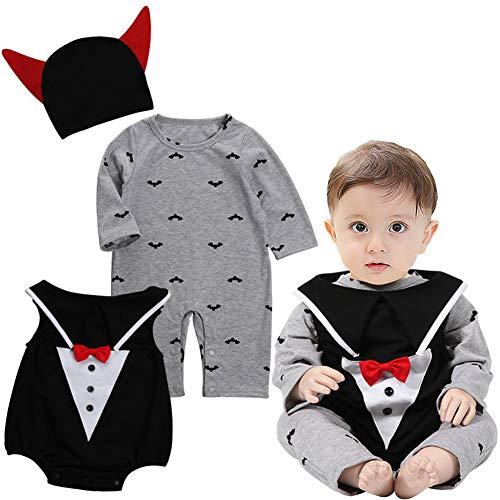 oren 3pcs Halloween Kostüm Jumpsuit Spielanzug Kürbis Strampler Neugeborenen Bodysuit Halloweenkostüm Outfits Strampler + Body + Hut (Schwarz, 70/3-6 Monate) ()