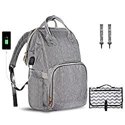Nappy Backpack Diaper Bag Trapal Nappy Changing Set Anti-theftwater Resistantwith Usb Charging Port Travel Backpack For Baby Care, Portable Changing Mat & Stroller Hooks Included