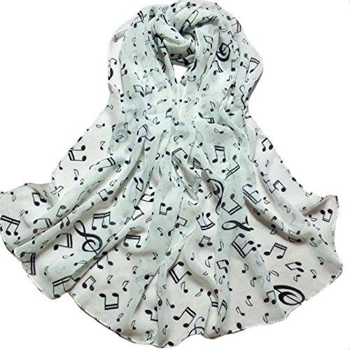 ❤️ Chal de las mujeres,Mujer Dama Nota Musical Pañuelo de cuello bufanda Chal Silenciador Bufandas Negro ABsolute (Blanco)