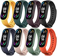 Monuary 8 Pieces Straps Compatible with Xiaomi Mi Band 6 / Amazfit Band 5 / Xiaomi Mi Band 5, Colourful Silico