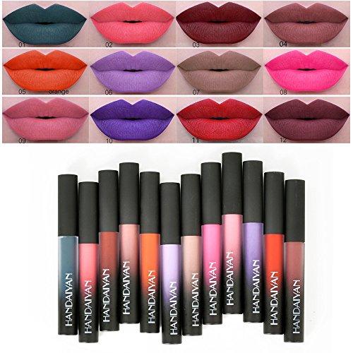 Anself 12colores brillo de labios Pintalabios metálico Nude Liquid Lipstick Agua Densidad