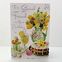 Jonny Javelin to A Special Friend On Your Birthday Card - Lemon Cake & Flowers