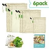 E-Know Gemüsebeutel,6er Gemüsenetz, Natural Baumwolle,Einfach zu Reinigen, Plastikfrei...