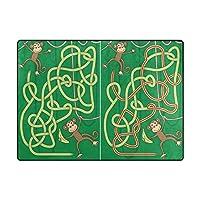 Orediy Soft Area Rugs Monkey Maze For Kids Kids Playing Rug Floor Mat 160 x 122 CM Large Lightweight Foam Rug for Living Room Bedroom