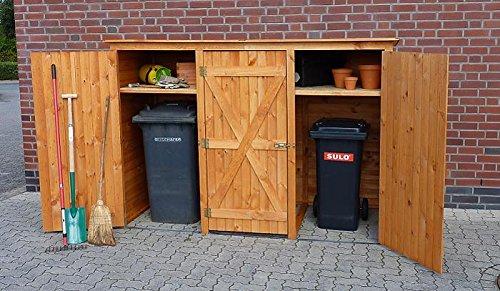 Promadino Mülltonnenschrank 3-türig 358/05 Mülltonnenbox honigbraun Holz NEU