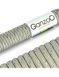 """Ganzoo """"Parachute Cord"""" / """"Paracord 550"""" - Cuerda de supervivencia reflectante (nylon, longitud: 31 m, 250 kg), color gris"""