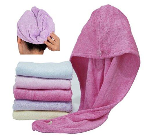 Happyit 1 PCS Hohe Qualität 100% Bambusfaser Weiche Kopf Handtuch Super Magie Absorbierende Haar Trocknen Hut für frauen Mädchen dame Bad Dusche (Rose rot)
