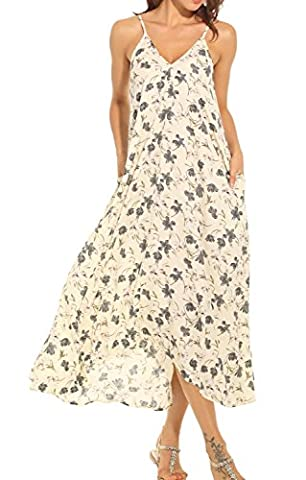 LILBETTER Lady V-neck Polka Dot Pocket Long Maxi Dress Boho Casual Cocktail Beachwear (UK 8-10 /S, Beige)