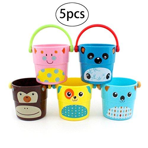 TOYMYTOY 5 Stück Sandeimer Set Badeeimer Spielzeugeimer Klein Spielzeug für Kinder Eingestellt