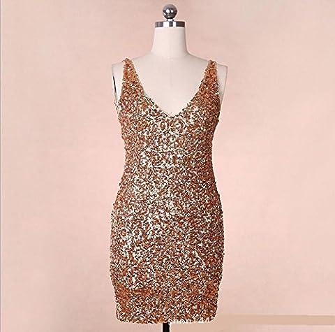 Wgwioo Pailletten-Kleid Mit V-Ausschnitt Damen Lateinamerikanische Tänze , Gold ,