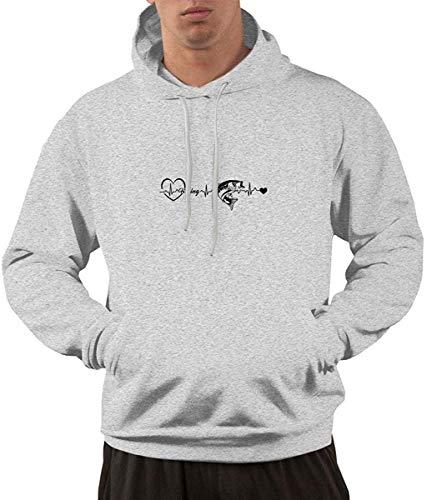 ZJHFSGMY Angeln Heartbeat Logo Hoodie Herrenmode Casual Workout Sweatshirts Athletisches Sweatshirt mit Kapuze mit Kordelzug