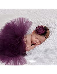 8c195c63f2d7e merssavo mignon nouveau-né bébé Tutu Jupe et fleur de bandeau photo Prop  Costume Outfit