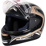 JMD HELMETS Matt Full Face Helmet (Large, Black-Golden)
