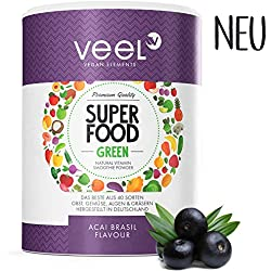 Multivitamin Superfood mit Acai, Matcha Tee & Spirulina Pulver   Für Protein Shake oder Smoothie   Vitamine, Mineralstoffe, Chlorella & Leinsamen   Mit Stevia – VEEL SUPERFOOD ACAI BRASIL