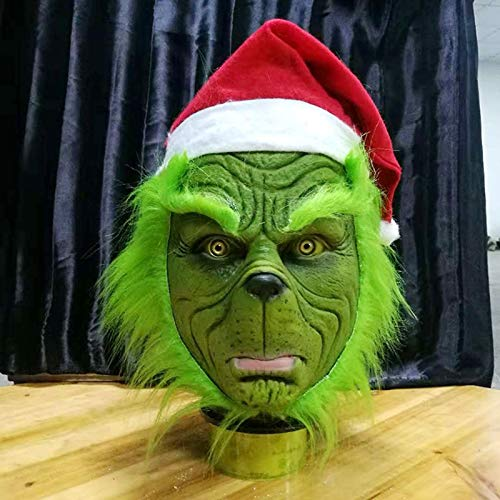 Maske Lustige Grinch Stola Weihnachten Cosplay Party Maske Hut XMAS Full Head Latex Maske mit weiteren Erwachsenen Kostüm Grinch Maske Requisiten