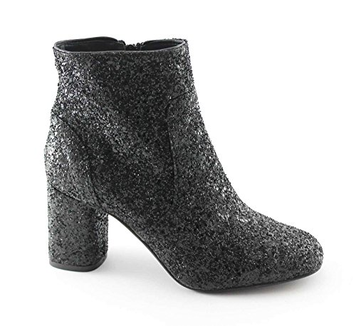 DIVINE FOLLIE 2401 nero stivaletti donna tronchetti tacco zip glitter 39