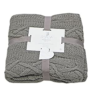 Just Contempo Aran Knitted Throw, Charcoal Grey, 140x190 cm